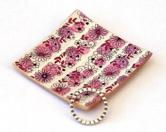 Ring dish - Trinket tray - Square dish - Bamboo bowl - Flower pattern