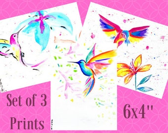 Hummingbird Print Set, Set of 3 Prints, Bird Print Set, Set of Three Prints, 6x4 Prints, Hummingbird Art, Bird Art, Hummingbird Picture