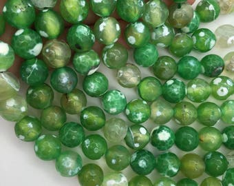 1Full Strand 10mm Green Agate Faceted Round Beads,Wholesale Gemstone Beads For Jewelry Making