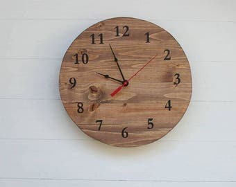 Wood Clock | Stained Clock | Clocks | Home Decor