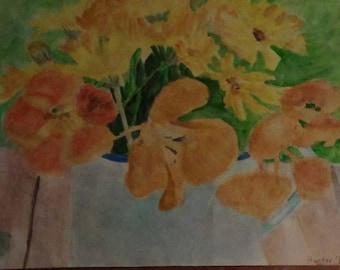 Original Watercolor Painting Orange and Yellow Flowers