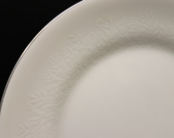 Wedgewood Silver Ermine Salad Plates, White Floral Bone China signed Made in England estate china