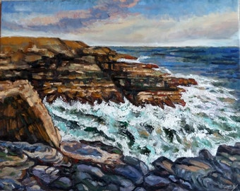 "Original Oil Painting, Rocky Coast View of North America, 24""x30"", 1611253"