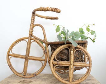 Vintage Boho Rattan Bike Planter // Decorative Bamboo Bicycle Plant Stand