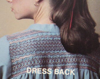 1980 Smocking Patterns by Rainbow Hill ~ Chevron Shirt/Dress Pattern No. 12-1080 Ladies Sizes 6-14 ~ Loose Shirt/Dress Smocked Chevron Band