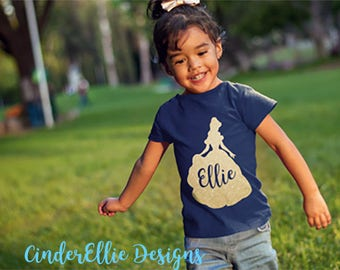 Belle Monogram Shirt; Princess Silhouette T-shirt; Disney glitter t-shirt;  Personalized Princess Shirt; Personalized Vacation Shirt