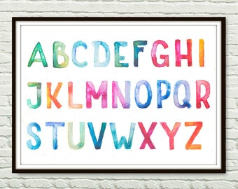 "Watercolor Alphabet nursery Print, Alphabet Print,  Alphabet baby nursery print, abc Wall Art, Playroom Wall Art, ABC Nursery Art Print ""2"""