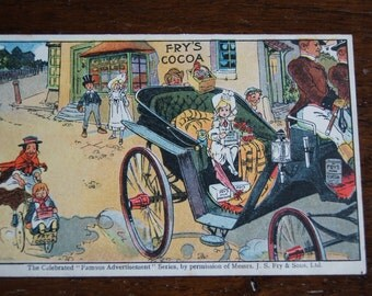 Extremely Rare Fry's Cocoa Antique Advertising Postcard.