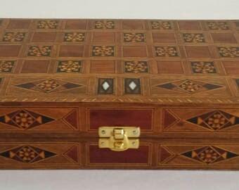 Chess Board- small size, Backgammon Board,  Wooden chess board, Carved Backgammon, Syrian artisan mosaic backgammon, Marquetry chess board