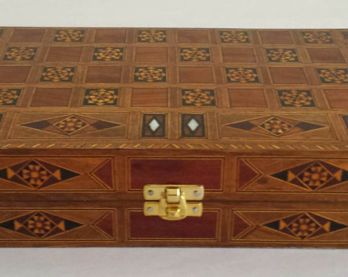 Chess Board- small size, Backgammon Board,  Wooden chess board, Carved Backgammon, Syrian artisan mosaic backgammon, Marquetry chess board