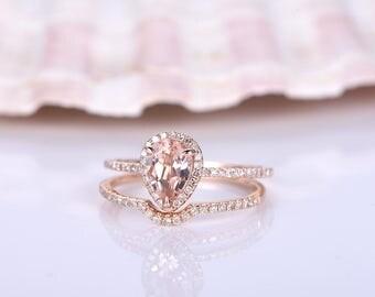 morganite bridal setmorganite ring set6x8mm pear cut morganite engagement ringhalf - Morganite Wedding Ring Set