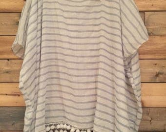 Gray and White Striped Cover-Up