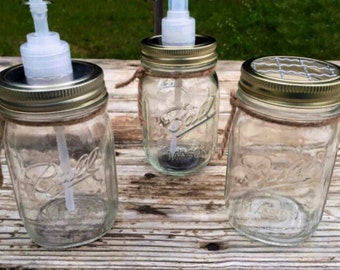 Clear Mason Jar Bathroom Set, Soap Dispenser and Toothbrush Holder, Set of 2, Country Home Decor