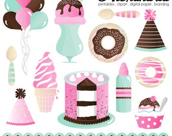 Sprinkles & Scoops Digital Clipart - Personal and Commercial Use - Ice Cream Parlour Clipart, Sweet Donut Graphics, Birthday Party Images