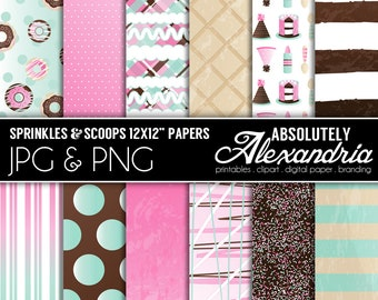 Sprinkles & Scoops Digital Papers - Personal and Commercial Use - Ice Cream Parlour Paper,  Patterns, Birthday Party Scrapbook Page Kit
