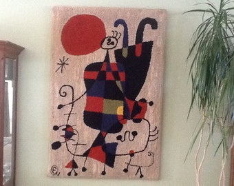 Old Miro wall tapersty 1970s rug