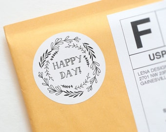Happy Mail Stickers - Oh Happy Day - Packaging Sticker - Favor Stickers - Product Packaging Label - Sticker Printing - Packaging Supplies