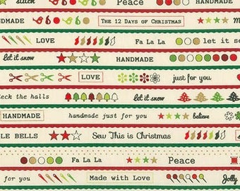 By The HALF YARD - Merry Stitchmasby C. Frenette for Robert Kaufman, #15221-200 Vintage, Metallic Gold, Green, Red Words on Cream