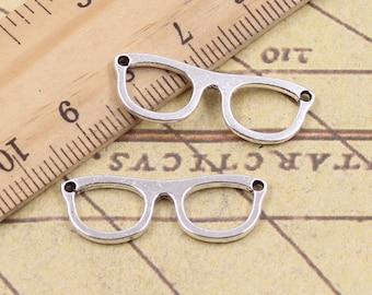 10 Eyeglasses Connectors Charms Antique Silver Tone Spectacles Charms Sunglasses Charms Charm Bracelet Bangle Bracelet Pendants #186