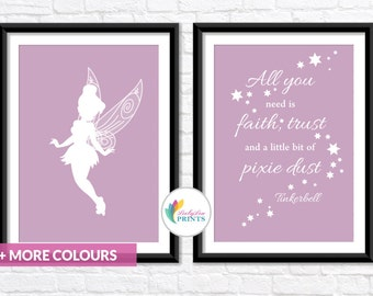Tinkerbell Fairy Prints Set of 2 - Custom Colour - Girls Bedroom Prints, Nursery Art, Childrens Art, Kids Wall Art, Nursery Print