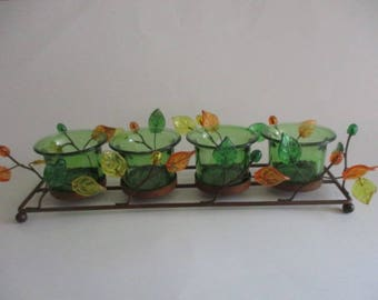 Vintage Metal Tealight/Votive Candle Holder - vine pattern with green, yellow, orange glass leaves and buds