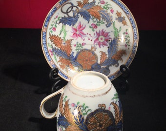 Rare New-hall Staple Repaired Cup + Saucer c1790