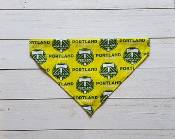 Portland Timbers Dog Bandana, Over the Collar Dog Bandana, Soccer, Portland, Green and Yellow