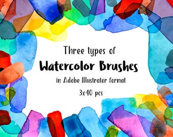 Illustrator Brushes  - 40x3 brushes, brushes, paints, watercolors, brushes/Watercolor Paint Strokes - Watercolor Designs - Instant Download
