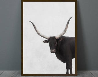 Longhorn Print, Longhorn Wall Decor, Longhorn Poster, Longhorn, Animal Print Wall Decor, Printable Longhorn Wall Art