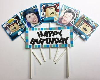 Dan TDM Roblox Cake Topper, The Diamond Minecart Cake Topper, Mine game Party Decorations, Roblox Birthday Party, Happy Birthday