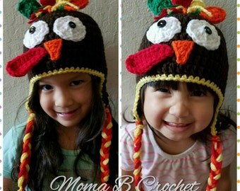 Crochet Turkey Hat, Turkey Hat, Thanksgiving Hat,  Baby Turkey Hat, Kids Turkey Hat, Adult Turkey Hat