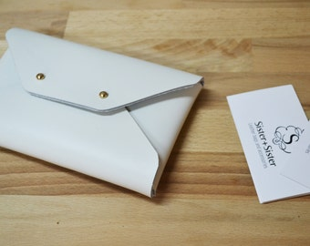 Off white leather pouch / White leather wallet / White envelope pouch / Leather iphone case / Bridesmaid gift / Mini leather clutch