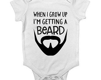 Funny baby beard vest bodysuit