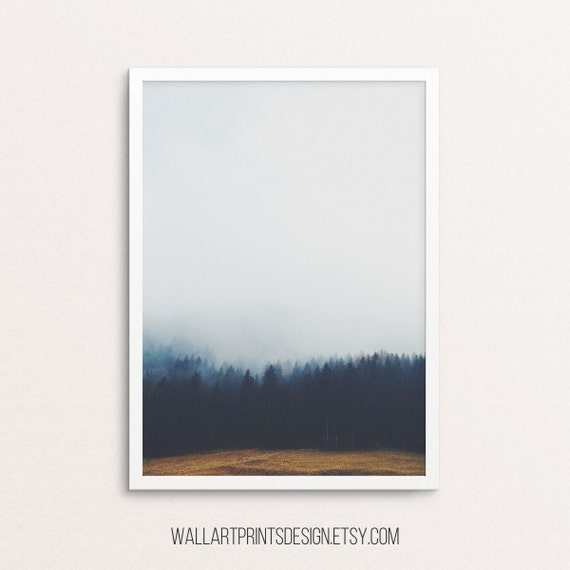 Forest art, forest prints, forest poster, forest landscape, fog forest, tree, forest photo, Forest Wall Print, printable art, digital prints
