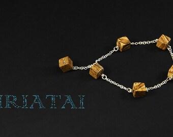 Natural picture Jasper and sterling silver bracelet