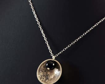 Hand made half sphere and metal pattern on sterling silver necklace and onyx
