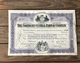 Norther Central Railway Company Share Certificate