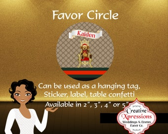 Favor Circle, Designer Favor Tag, Favor Tag, Sticker, Label, Hanging Tag, Digital File
