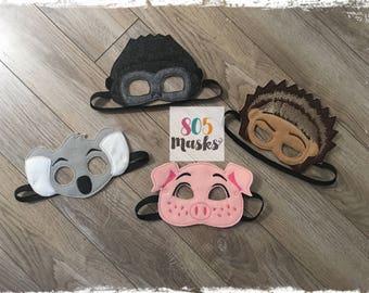 Sing Inspired Masks, Kids Mask, Kids Costume, Rosita Pig, Buster Moon Koala, Ash Porcupine, Johnny Gorilla, Sing Birthday, Halloween Masks