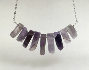 Natural Amethyst Bib Necklace