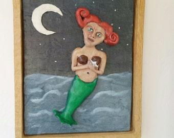 Mermaid sculptural wall art piece elderly mermaid redhead ocean sea moon siren