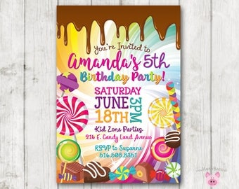 Printable Candy Invitation, Candy Birthday Invitation, Candy Party, Sweets Chocolate Birthday Invite, Dripping Chocolate, Lollipop Party