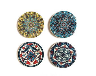Ceramic coasters with Turkish pattern - Set of 4 - Assorted designs