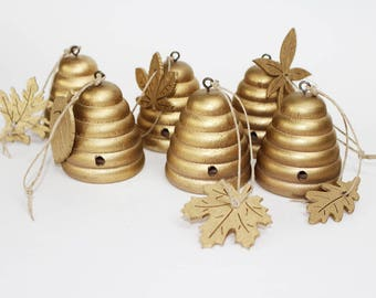 Solid Wood Beehive Ornaments-Gold Set of 6