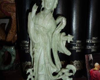 goddess in massive carved jade