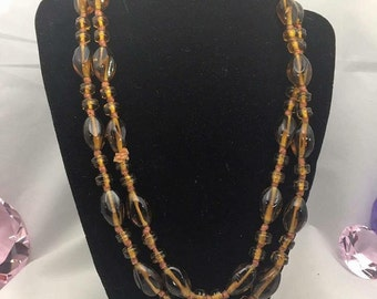 """22"""" Vintage Hand Knotted Amber Glass Beaded Necklace"""
