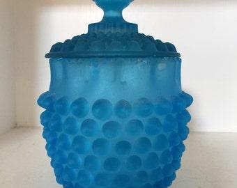 Vintage Blue Hobnail Candy Dish Stunning