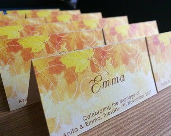 Fall wedding place cards - beautiful Autumn leaves in russet, orange and yellow.