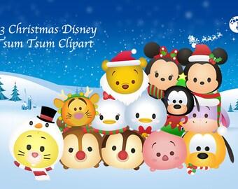 CHRISTMAS Tsum Tsum Clipart. 13 High Resolution Digital Clipart. Christmas Party. Party Supplies.