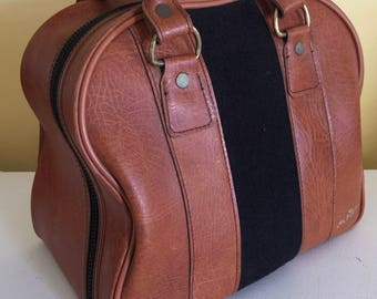 Vintage AMF One Ball bowling bag  Brown and Dark Brown